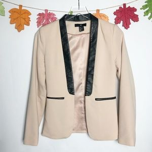 H&M | Blush Pink & Black Faux Leather Blazer  6
